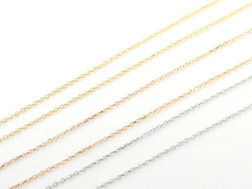 ネックレス 40cm あずきチェーン k18 イエローk18 ピンクk18 0.6ミリ幅アズキチェーン 18金 華奢 細身 細め