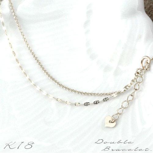[新作]k18ゴールド チェーン ブレスレット レディース ブレス k18 18k 18金 華奢 イタリア デザインチェーン ホワイトゴールド パーツ