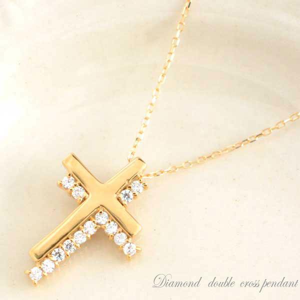 ダイヤモンドペンダント ダイヤネックレス ピンクゴールドk18 k18 クロス 0.14ct ダイヤモンドネックレス ペンダント 18k 十字架 プレゼントに