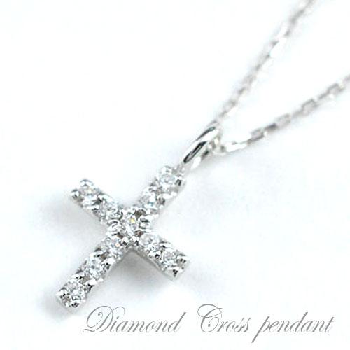 【送料無料】クロス ネックレス ダイヤモンド プラチナ ペンダント レディース 0.08ct ダイヤ 華奢 ダイヤネックレス ペンダント 十字架 プレゼントに