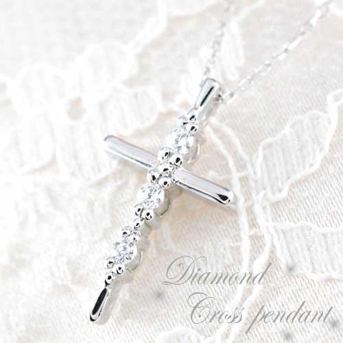 【送料無料】クロス ネックレス ダイヤモンド レディース ペンダント ホワイトゴールド k18 18k 0.08ct ダイヤ 華奢 ダイヤネックレス ペンダント 十字架 プレゼントに クリスマス Xmas