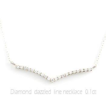 ネックレス ダイヤモンド レディース ペンダント プラチナ ダイヤ プラチナ900 pendant 0.1ct Vライン 華奢 シンプル 記念 誕生日 ライン スキンジュエリー