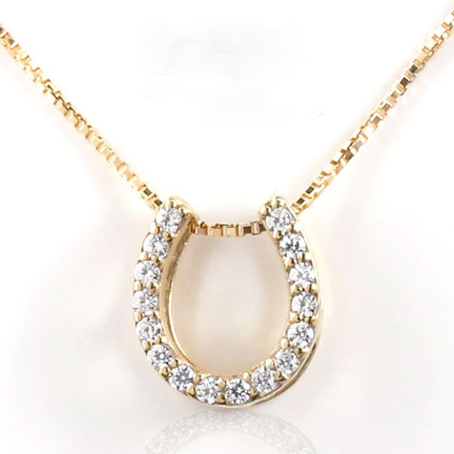 【送料無料】K18 ゴールド 馬蹄ペンダント K18 0.1ct ダイヤモンド ネックレス ダイヤモンドペンダント ダイヤネックレス ペンダント ホースシュー レディース プレゼントに ベネチアン ホワイトデー