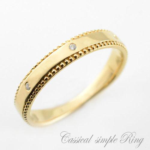 【送料無料】ダイヤモンドリング ピンキーリング 指輪 地金 シンプル 平打ち ミル打ち k18イエローゴールド アンティーク レディース 婚約指輪 結婚指輪 ブライダル ホワイトデー
