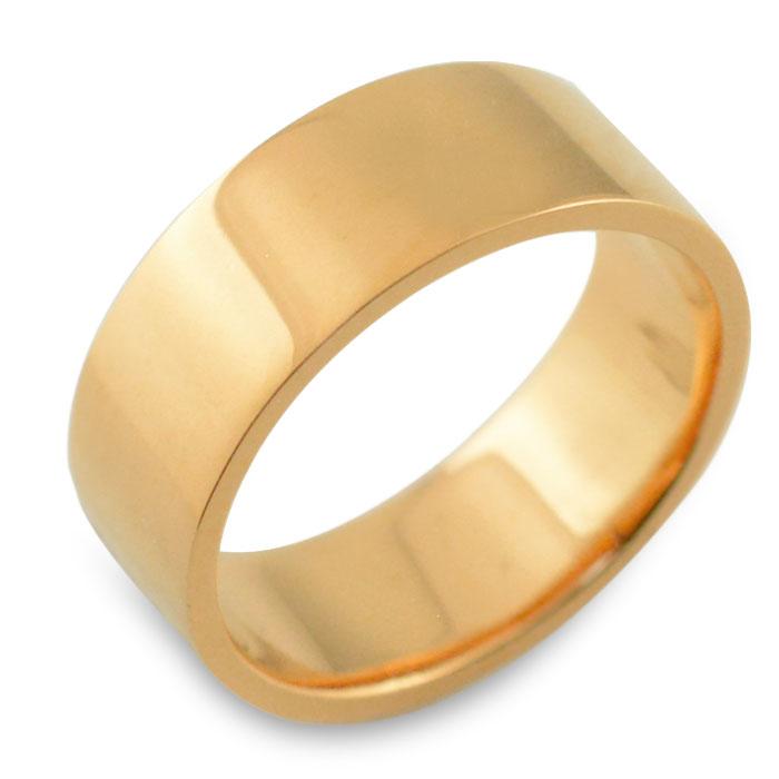 リング メンズ 指輪 平打ちリング 7mm ピンクゴールド k18 ストレート 幅広 ヒラウチ 地金リング 18k 18金 シンプル フラット ブライダル