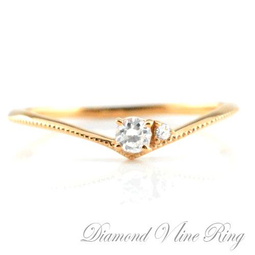 [送料無料]ダイヤモンドリング V字 リング 一粒ダイヤ 0.1ct ピンクゴールドk10 10k リング 指輪 エンゲージリング 婚約指輪 ピンキーリング レディース ミルウチ ブライダル クリスマス Xmas