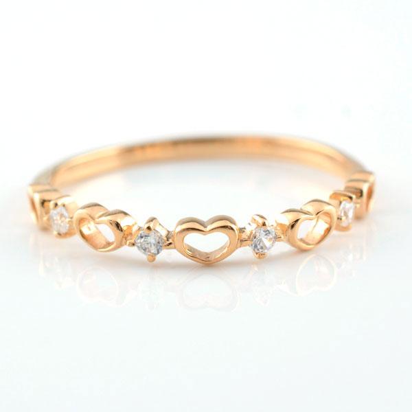【送料無料】ピンキーリング 指輪 ダイヤモンド ハートの指輪 ハートピンキーリング ファランジリング ミディリング k18 ピンクゴールド k18 ダイヤ レディース クリスマス Xmas