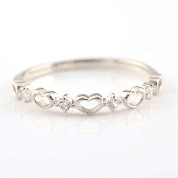ピンキーリング 指輪 ダイヤモンド ハートの指輪 ハートピンキーリング ファランジリング ミディリング ホワイトゴールド k18 ダイヤ レディース