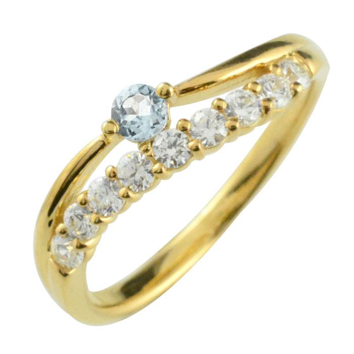 リング ダイヤモンド アクアマリン k18 指輪 記念 イエローゴールド アニバーサリー 10粒 ゴールド 18k 10石 18金 重ねづけ 3月 レディース 天然石