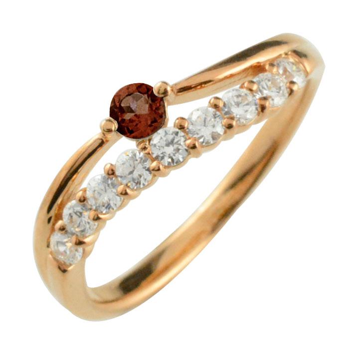 リング ダイヤモンド ガーネット k18 指輪 記念 ピンクゴールド アニバーサリー 10粒 ゴールド 18k 10石 18金 重ねづけ 1月 レディース 天然石