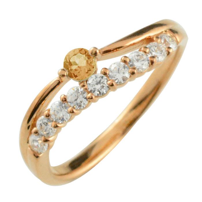 リング ダイヤモンド シトリン k18 指輪 記念 ピンクゴールド アニバーサリー 10粒 ゴールド 18k 10石 18金 重ねづけ 11月 レディース 天然石