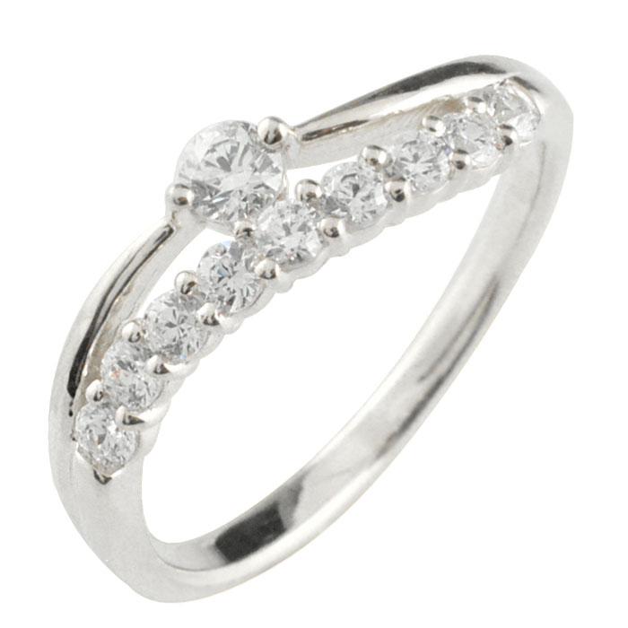 リング ダイヤモンド k18 指輪 10周年 記念 ホワイトゴールド アニバーサリー テンダイヤモンド 10粒 ゴールド 18k 10石 18金 重ねづけ レディース 天然石