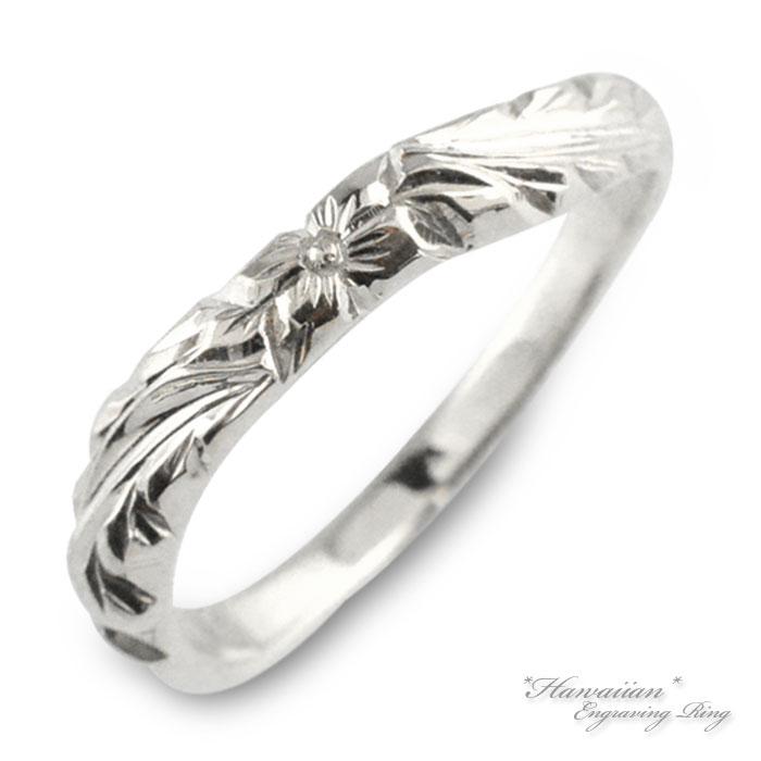 ハワイアンジュエリー メンズ ハワイアン リング プラチナ pt900 プルメリア マイレ 地金リング 彫金 手彫り 指輪 ハンドメイド プラチナ900 花 葉 ハワイ