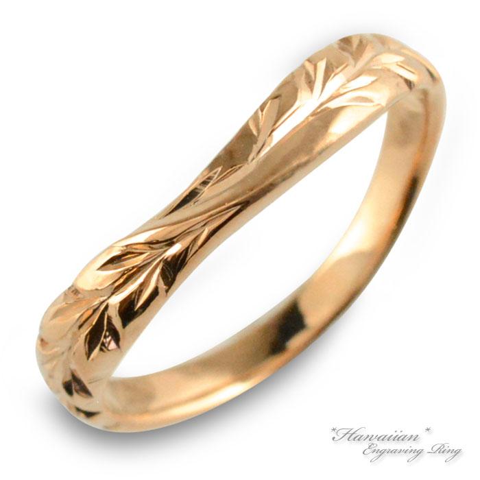 ハワイアンジュエリー メンズ ハワイアン リング ピンクゴールド k10 マイレ 地金リング 彫金 手彫り 指輪 ハンドメイド 10k 10金 葉 ハワイ