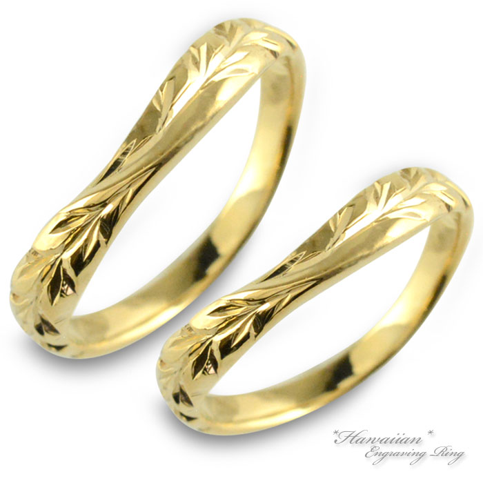 ハワイアンジュエリー ペアリング ハワイアン レディース メンズ リング イエローゴールドk10 マイレ 地金リング 彫金 手彫り 結婚指輪 エンゲージリング 葉 ハンドメイド 10金 10k k10 ハワイリーフ ブライダル