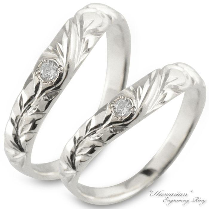 ハワイアンジュエリー ペアリング ハワイアン ダイヤモンド レディース メンズ リング プラチナ pt900 マイレ リーフ スクロール 地金リング 彫金 手彫り 結婚指輪 エンゲージリング 葉 波 ハンドメイドプラチナ900 ブライダル