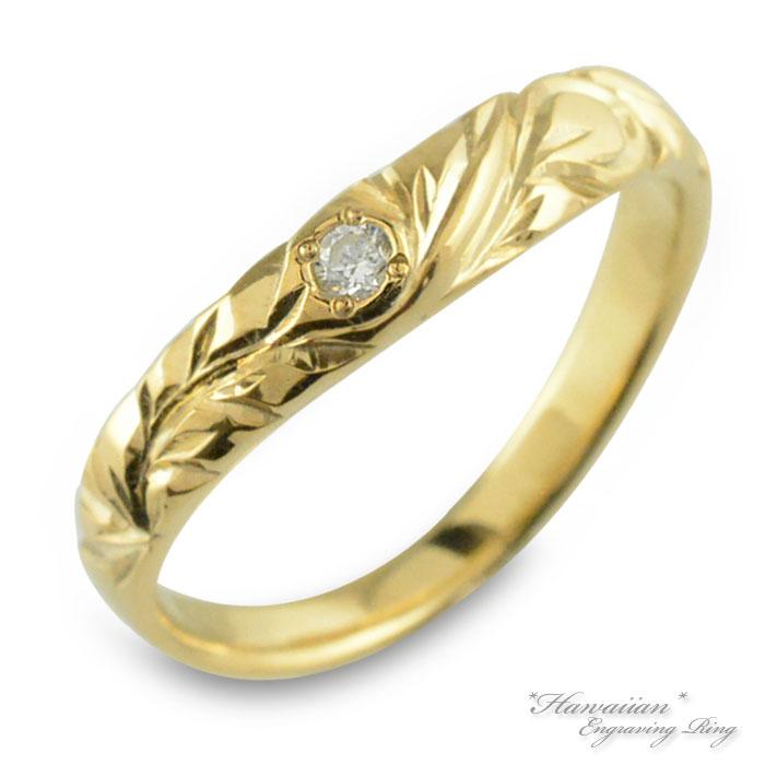 ハワイアンジュエリー メンズ ハワイアン リング イエローゴールド k10 ウエーブ マイレ 地金リング 彫金 手彫り 指輪 ハンドメイド 10k 10金 波 葉 ハワイ