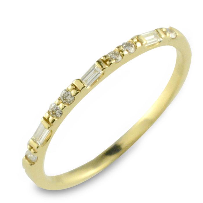 ダイヤモンド リング k18 18k 新作からSALEアイテム等お得な商品 贈答 満載 18金 シンプル 華奢 イエローゴールド ダイヤモンドリング ダイヤ ゴールド 指輪 重ねつけ レディース ハーフエタニティ バケットカット 個性派