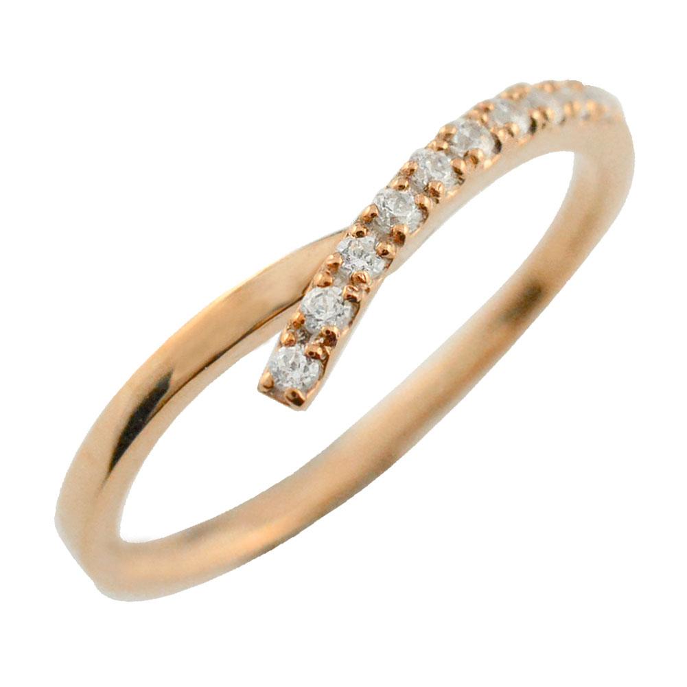 リング ダイヤモンドリング k18 ハーフエタニティ 指輪 V字 ピンクゴールド 重ねつけ ダイヤモンド 18k 18金 レディース エタニティ ダイヤ