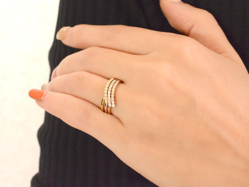 リング ダイヤモンドリング  ハーフエタニティ 指輪 V字 イエローゴールド プラチナ ピンクゴールド 重ねつけ ダイヤモンド pt00 k18 18k 18金 レディース エタニティ ダイヤ  サマー