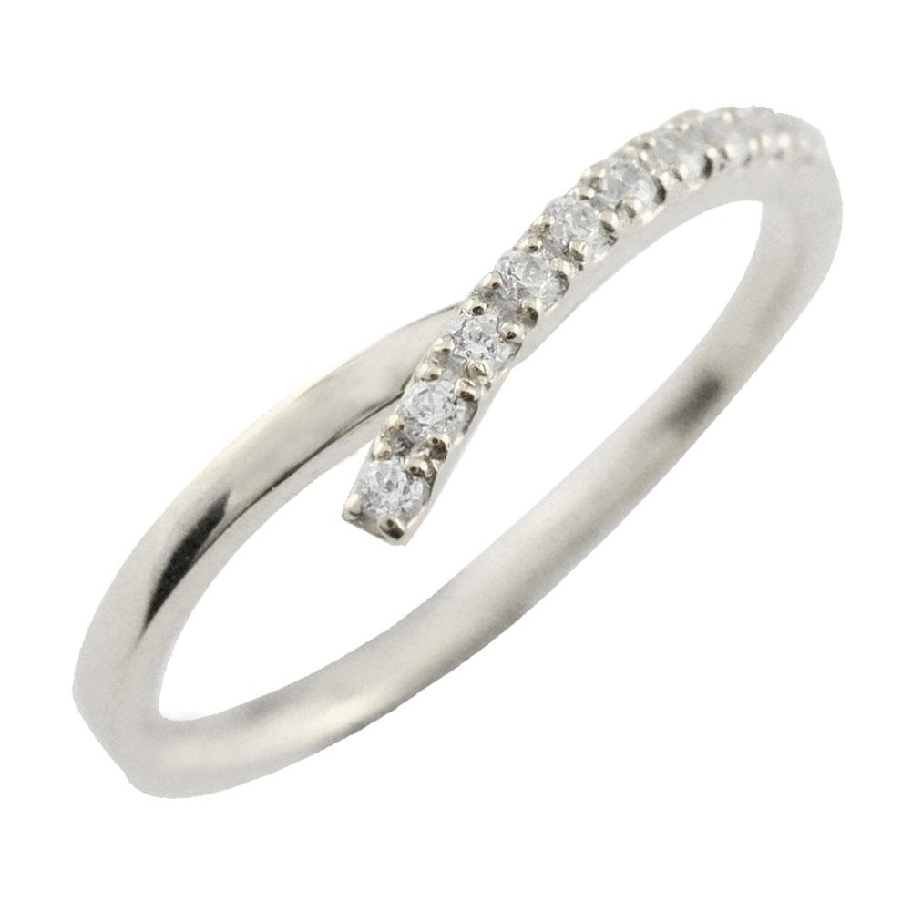 リング ダイヤモンドリング k18 ハーフエタニティ 指輪 V字 ホワイトゴールド 重ねつけ ダイヤモンド 18k 18金 レディース エタニティ ダイヤ