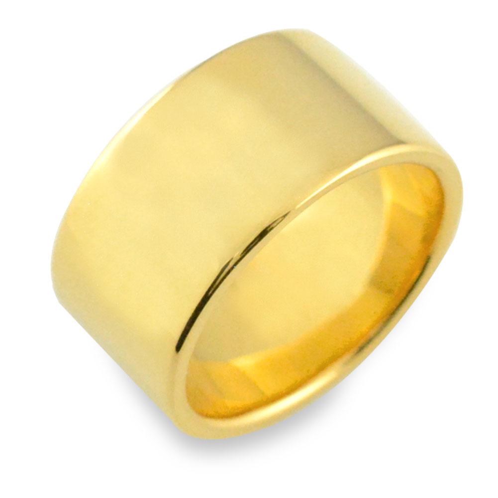 【送料無料】リング メンズ 指輪 平打ちリング 10mm イエローゴールド k18 ストレート 幅広 ヒラウチ 地金リング 18k 18金 シンプル フラット ブライダル