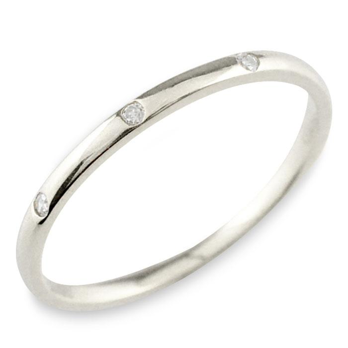 プラチナ ダイヤモンド pt900 pt シンプル リング 指輪 プラチナ900 ピンキーリング 甲丸 レディース スリーストーン 華奢 重ねづけ シンプル 誕生石 おしゃれ ストレート