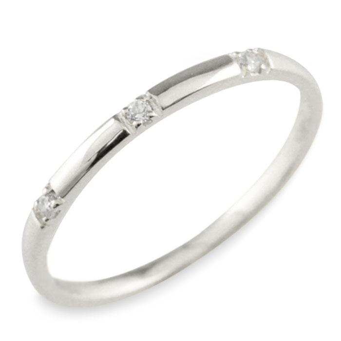 プラチナ ダイヤモンド pt900 pt シンプル リング 指輪 ピンキーリング 甲丸 レディース スリーストーン 華奢 重ねづけ シンプル 誕生石 おしゃれ ストレート