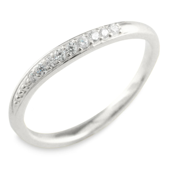 ダイヤモンド リング k18 ホワイトゴールド 指輪 ゴールド ダイヤ レディース 華奢 ウェーブ 重ねつけ 18k 18金