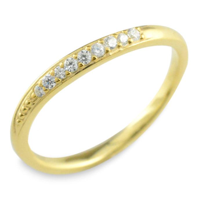 ダイヤモンド リング k18 イエローゴールド 指輪 ゴールド ダイヤ レディース 華奢 ウェーブ 重ねつけ 18k 18金