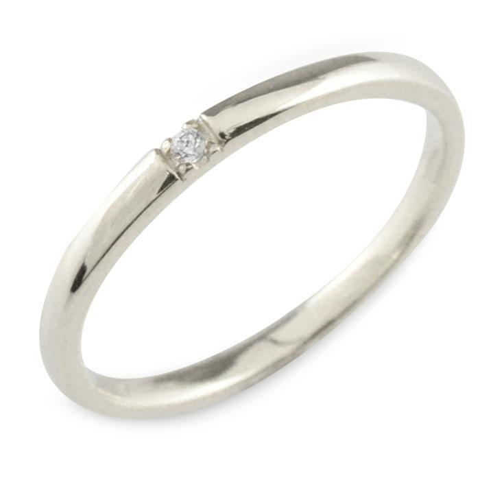 K18 シンプル 18金 ダイヤモンド 18k タイムセール WG 華奢 ホワイトゴールド 大人気! リング レディース ゴールド ピンキーリング ストレート 甲丸 指輪 重ねづけ 誕生石 おしゃれ