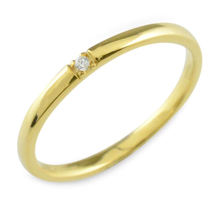 K18 限定品 シンプル 18金 ダイヤモンド 18k 華奢 リング 指輪 レディース 誕生石 ゴールド ピンキーリング おしゃれ 甲丸 重ねづけ 国際ブランド ストレート