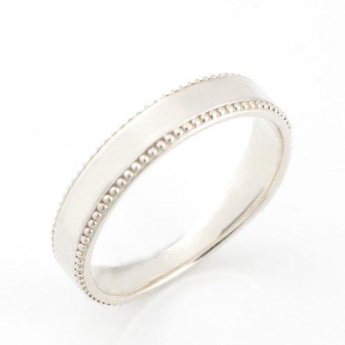 【送料無料】メンズ リング 指輪 地金 シンプル 平打ち ミル打ち k18 ホワイトゴールド 18k アンティーク 婚約指輪 結婚指輪