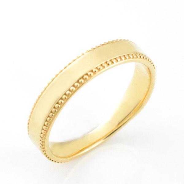【送料無料】メンズ リング 指輪 地金 シンプル 平打ち ミル打ち k18 イエローゴールド 18k アンティーク 婚約指輪 結婚指輪