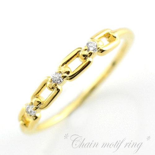 【送料無料】ダイヤモンドリング 0.05ct K18ゴールド 18金 小指 指輪 ピンキーリング ファランジリング レディースジュエリー 18k チェーンモチーフ 鎖 当店売れ筋 ホワイトデー