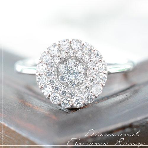 【送料無料】ダイヤモンド リング ホワイトゴールド k18 アンティーク フラワー レディース ピンキーリング 指輪 ダイヤ 0.5ct クラシカル パヴェ ダイヤ エレガント クリスマス Xmas