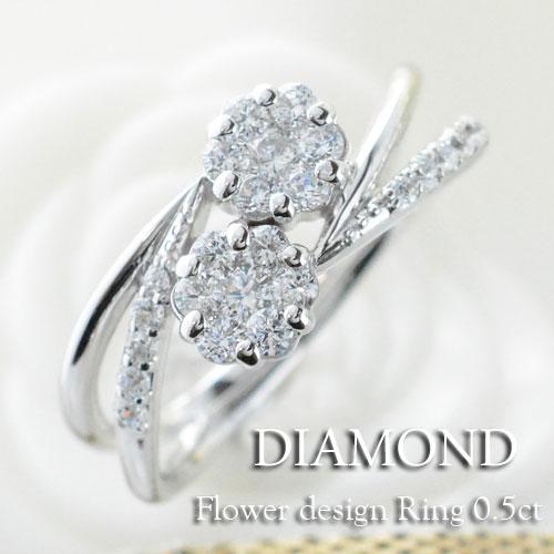 ダイヤモンド リング 指輪 プラチナ ダイヤモンドリング ピンキーリング フラワー エンゲージリング pt900 クラシカル ダイヤ 婚約指輪 結婚指輪 レディース