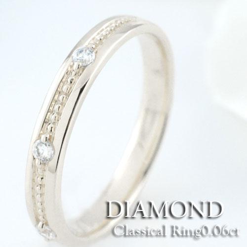結婚指輪 婚約指輪 エンゲージリング ダイヤモンド リング k18 レディース ミルウチ ダイヤモンドリング ピンキーリング 18金 指輪 ダイヤモンド 0.06ct ホワイトゴールドk18 ダイヤ
