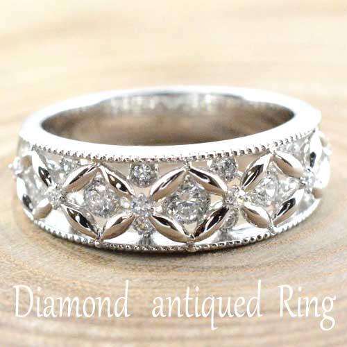 【送料無料】婚約指輪 エンゲージリング 結婚指輪 レディース ダイヤモンド リング 指輪 k18 ダイヤモンドリング ピンキーリング ダイヤモンド 18k クラシカル ミルウチ ホワイトゴールド ダイヤ ホワイトデー