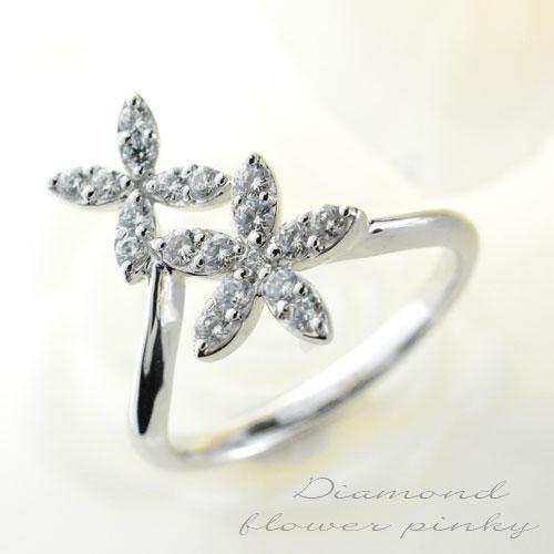 【送料無料】ダイヤモンド リング 指輪 ゴールド ダイヤモンドリング ピンキーリング k18 フラワー 18k 花 レディース ホワイトデー