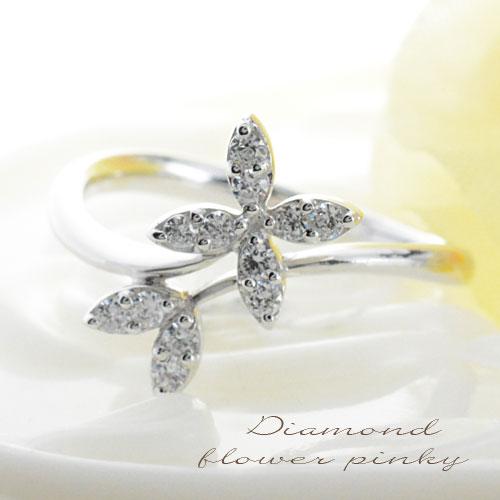【送料無料】ダイヤモンド リング 指輪 プラチナ ダイヤモンドリング ピンキーリング フラワー pt900 花 レディース クリスマス Xmas