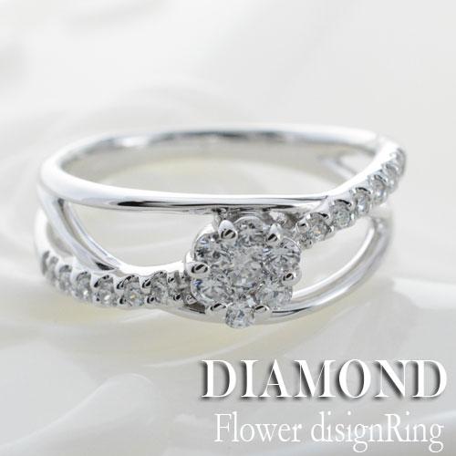 【送料無料】ダイヤモンド リング 指輪 プラチナ ダイヤモンドリング ピンキーリング フラワー エタニティ クラシカル pt900 ダイヤ 婚約指輪 エンゲージリング 結婚指輪 レディース ホワイトデー