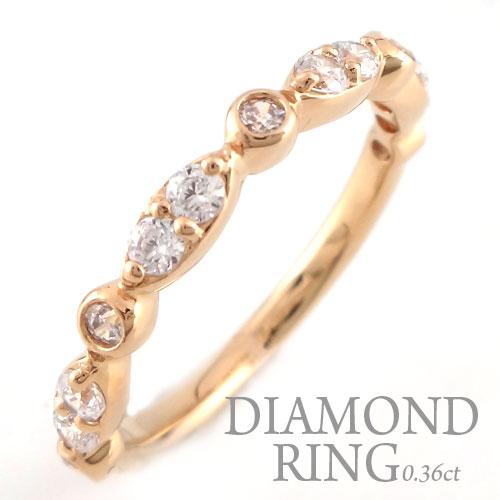 【送料無料】ダイヤモンド リング k18 レディース エンゲージリング ダイヤモンドリング ピンキーリング 18金 指輪 ダイヤモンド 0.36ct ピンクゴールドk18 ダイヤ 婚約指輪 エンゲージリング 結婚指輪 ホワイトデー