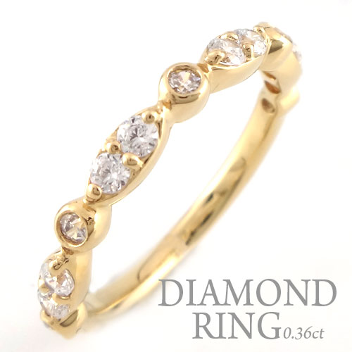 【送料無料】結婚指輪 婚約指輪 エンゲージリング ダイヤモンド リング k18 レディース ダイヤモンドリング ピンキーリング 18金 指輪 ダイヤモンド 0.36ct イエローゴールドk18 ダイヤ ホワイトデー