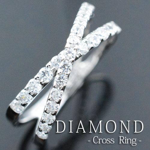 【送料無料】ダイヤモンド エンゲージリング リング ダイヤリング クロスライン クロス ストレート プラチナ 指輪 重ねづけ 0.5ct 指輪 ダイヤモド ダイヤ レディース