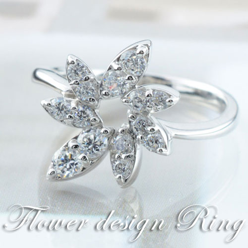 ダイヤモンド リング 指輪 k18 ダイヤモンドリング ピンキーリング フラワー 0.55ct エンゲージリング 18k クラシカル ホワイトゴールド ダイヤ 婚約指輪 エンゲージリング 結婚指輪 レディース