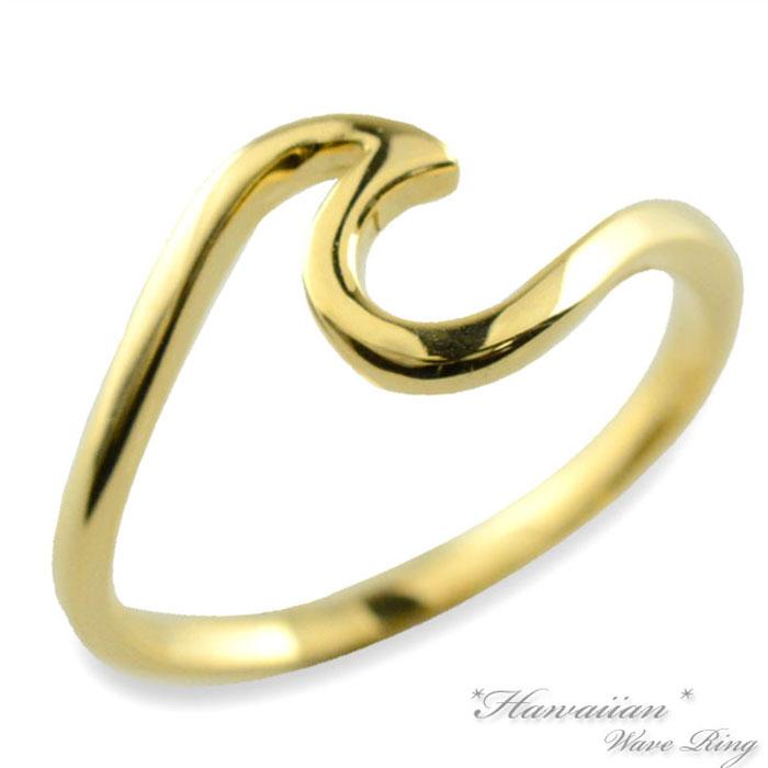 【送料無料】リング 指輪 ハワイアン レディース イエローゴールド k18 ウェーブ 地金リング 波 華奢 18k 18金 スクロール ハワイ