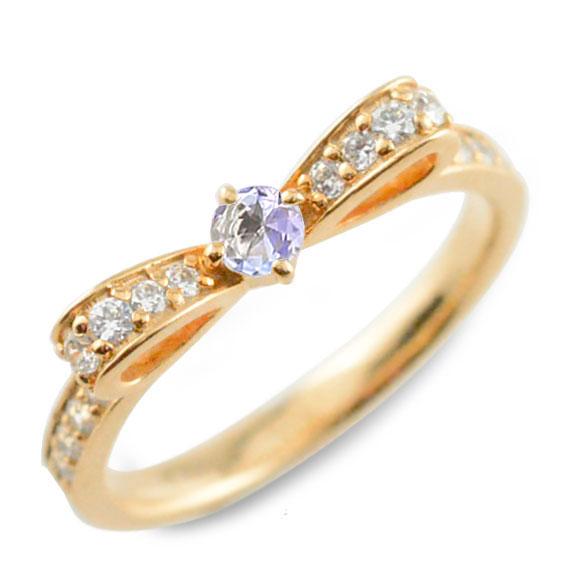 タンザナイト ピンキーリング リボンリング リボン ダイヤモンド リング k18 18k 18金 指輪 ダイヤモンド 誕生石 ピンクゴールドk18 ダイヤ 婚約指輪 結婚指輪 レディース