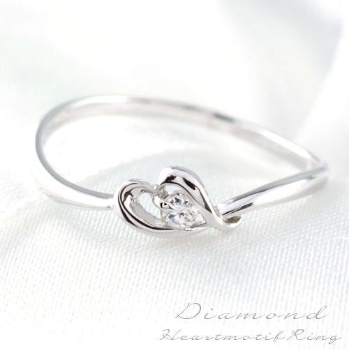 ダイヤモンド リング 指輪 プラチナ ダイヤモンドリング ピンキーリング エンゲージリング ハート 1粒 一粒ダイヤ 婚約指輪 結婚指輪 レディース