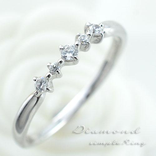 ダイヤモンドリング 指輪 k18 ダイヤモンドリング ピンキーリング エンゲージリング 18k ホワイトゴールド ダイヤ 婚約指輪 結婚指輪 レディース